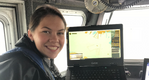 MMA cadet Mary Shea commands a Sea Machines autonomous vessel (Photo: Sea Machines Robotics)