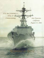 Cover of the commissioning program for USS McCampbell (DDG 85)