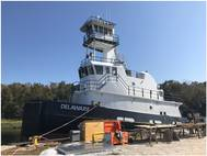 St. Johns Ship Building ensures watertight pipe penetrations in decks and bulkheads by using the Roxtec SPM seal. When building the tug Delaware, it also used the seal as vibration hanger in the compartments. (Photo: Roxtec)