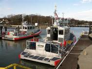 A new 45-foot response boat (right) is moored at Coast Guard Station Marblehead, Ohio, after the stations crew accepted it May 1, 2014. (U.S. Coast Guard photo by Phillip Null)