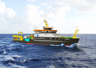 rendering of the Atair; first vessel in the BSH fleet with LNG technology  (Photo: Wärtsilä)