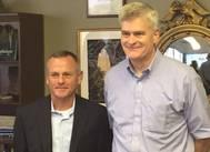 DSC Dredge President / CEO Bob Wetta (left) stands with Senator Bill Cassidy from Louisiana on September 1, 2016. (Photo: DSC Dredge)