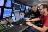 Chief Scientist Will Sager interpreting data in the control room Photo SCHMIDT OCEAN INSTITUTE