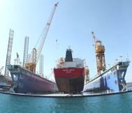 Donnelly Tankers vessel inside new VLCC size floating dock