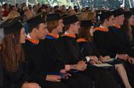 Webb Institute's Class of 2016 at the 120th Commencement Ceremony. Pictured is, Lauren West, Michael Walker, Cody Stansky, Dylan Przelomski, Kelly O'Brien, llya Mouravieff, Brian Mills, and Jenny Lorenc. Photo credit, Kerri Allegretta (Photo: Webb Institute)