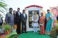 Hon'ble Minister Santosh Gangwar (Center) with Chinta Sasidhar – Managing Director and Anil Yendluri -  Director and CEO - Krishnapatnam Port Company Limited while laying the foundation stone for the TT terminal at the port.