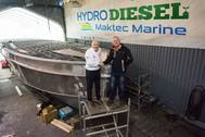 Hydro Diesels Alan Priddy with Maktec Marines Mark Cornforth with Excalibur boat under construction (Photo: Maktec Marine)