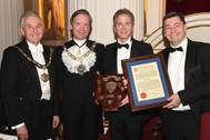 L - R The Master Carman, Mr Mark Griffiths; The Rt. Hon The Lord Mayor of London, Alderman the Lord Mountevans; Patrick Walters, Group Commercial Director, Peel Ports; Mark Whitworth, Chief Executive, Peel Ports