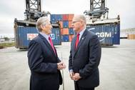 Paul Chip Jaenichen visits with Gary LaGrange at the Port of Greater Baton Rouge to officially award a MARAD grant of $1.75 million for Container on Barge service. The visit and award ceremony was held at the SEACOR AMH office Tuesday, Dec. 6, 2016 at the Ports Inland Rivers Marine Terminal in Port Allen, La. Port of New Orleans (Photo: Port of New Orleans)
