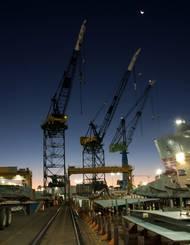 NASSCO shipyard sunrise: Credit NASSCO/Ken Wright.