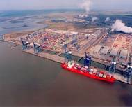 Aerial view of Hutchison Port Holdings controlled London Thamesport container terminal (Photo: Drewry)