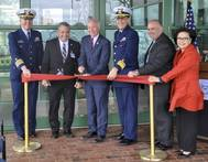 The ribbon is cut at the Coast Guard Science and Technology Innovation Center. Left to right: Capt. Dennis Evans, Mayor Michael Passero, U.S. Rep. Joe Courtney, Adm. Thomas Jones, Dr. Robert Griffin, Anh Duong (Coast Guard Photo by Corey J. Mendenhall)