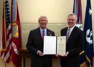 Washington D.C. (Feb. 28, 2013) Secretary of the Navy (SECNAV) Ray Mabus presents the Department of the Navys highest award for civilians, the Navy Distinguished Public Service Medal, to U.S. Senator Roger Wicker.