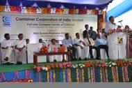 Shri Suresh Prabhu and Shri Venkaiah Naidu at the inauguration ceremony of the Port Side Container facility at the Krishnapatnam Port premise.  (Photo: KPCL)