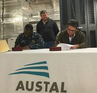 Signing of Delivery Documents onboard USNS Brunswick (EPF 6).