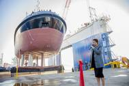 TNPA's new tugs, Qunu and Cormorant, were launched and named at the Southern African Shipyards in Durban Linda Mabaso, Chair of Transnet SOC Limited, named the vessels, flanked by Trishna Misra, Chief Financial Officer of Southern African Shipyards. (Photo by Philip Wilson – Logico Creative Solutions)