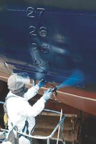High performance underwater hull coatings are always in demand, driven by continuous pressure to reduce operational fuel costs while staying environmentally compliant. (Photo: Sherwin Williams)