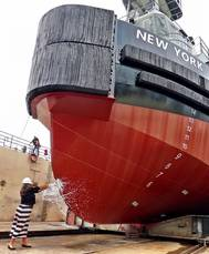 Vane tugboat New York being christened by St. Johns Ship Building Human Resources Manager Carla Newkirk (Photo: Vane Brothers)