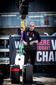 WCC winner Johnny Jensen (Denmark) operating the crane