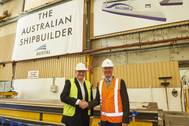 Mols Chairman Frantz Palludan and Austal CEO David Singleton at First Plate-Cutting for Express 4 at Austals Shipyard in Henderson, Western Australia (Photo: Austal)