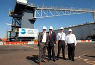 Left –Right : Hon. Brendon Grylls MLA, Leader of the Nationals WA and Minister for Regional Development and Lands, Hon. Troy Buswell MLA, Minister for Commerce, WA, Mike Bailey, Paul Booth (Project Manager, Australian Marine Complex). Photo courtesy Strategic Marine