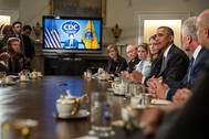 President Barack Obama delivers a statement to the press after a meeting with cabinet agencies coordinating the governments Ebola response, in the Cabinet Room of the White House, Oct.15, 2014. (Official White House Photo by Pete Souza)