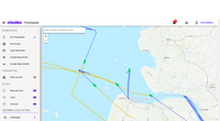 The TimeCaster web app: previous shipping routes are displayed in blue, and predicted future routes shown in yellow (Image: cloudeo)