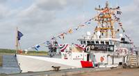 The Coast Guard Cutter Harold Miller sits moored during the commissioning ceremony at Sector Field Office Galveston, Texas, July 15, 2020. The crew of the Harold Miller will have a patrol area encompassing 900 miles of coastline for the Coast Guard's Eighth District, from Carrabelle, Fla., to Brownsville, Texas. (USCG photo by Paige Hause)