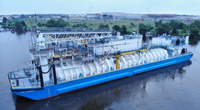 Clean Jacksonville is the the first LNG bunker barge built in North America (Photo: Conrad Industries)