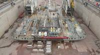 The construction of the Finneco II is progressing and the first keel-block of the new vessel was laid into the shipyard's dry dock. (Photo: Finnlines)