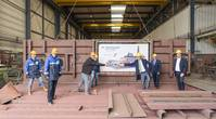 Royal Niestern Sander held a keel laying ceremony for the new stern of the passenger ferry Münsterland, which will be converted to LNG propulsion. (Photo: Royal Niestern Sander)