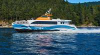 The Lady Swift, an aluminum catamaran coupled to a composite superstructure and a dynamic carbon fiber hydrofoil, was delivered to Bremerton on Friday, July 26, 2019. PHOTO: AAM