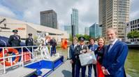 From left to right: Bert Boer (General Director Maritime Museum), Minister Cora van Nieuwenhuizen (Minister of Infrastructure and Water Management), Allard Castelein (CEO Port of Rotterdam Authority). Photographer: Marco de Swart