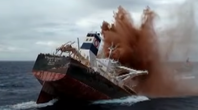 Declared a total loss following a grounding incident, the four-year-old VLOC Stellar Banner was scuttled off the coast of Brazil. (Screenshot from video courtesy of  Agência Brasil)