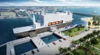 A digital mockup depicting the new NSMV docked at Texas A&M University at Galveston (Image: MARAD)