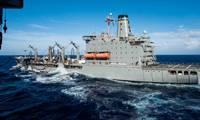 File Image / a USNS fleet oiler on station: Credit US Navy