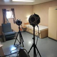 Onboard partition testing with omnidirectional sound sources. Photo: Noise Control Engineering
