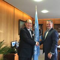 Kitack Lim, Secretary-General, International Maritime Organization (IMO) and Greg Trauthwein, Editor & Associate Publisher, Maritime Reporter & Engineering News at IMO headquarters in London last week.