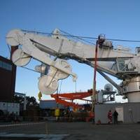 250-tonne AHC subsea knuckle-jib crane under final test at MacGREGOR's facility in Kristiansand, Norway.