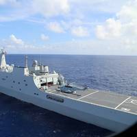 A Chinese naval ship performs a maritime exercise inthe South Shina Sea in November 2017 (Photo: China People's Liberation Army, by Gu Yagen)