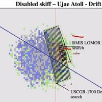 A graphic of the search area for the missing skiff near the Ujae Atoll using the Search and Rescue Optimal Planning System is a software system that uses simulated particles generated by users in a graphical interface. These particles are influenced by environmental data to provide information on search object drift. Using information on a point of origin and local currents, it calculates the most likely area to find a person in the water. (USCG graphic)