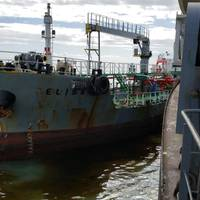 A small tanker alongside the stricken Wakashio, prior to the transfer of oil. The tanker was contracted by the owner and the response effort. (Photo: Nagashiki Shipping Co. Ltd)