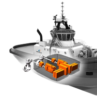 A typical system arrangement with the Wärtsilä HY for a tugboat application, in diesel-mechanical configuration with shaft motor/generator. (Image: Wärtsilä)