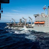 A USNS Fleet Oiler engaged in underway replenishment operations (CREDIT: US Navy)
