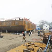 A view of the 26-meter-wide bow of the crane barge. (Haig-Brown photo courtesy of Cummins Marine)