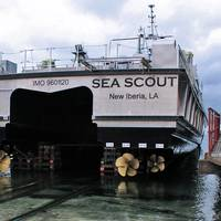 A view of the stern of the R/V Sea Scout and its four propellers during the build process. Photo courtesy All American Marine.