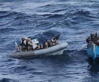 A visit, board, search and seizure team from the guided-missile destroyer USS Pinckney (DDG 91) approaches a suspected pirate vessel after the Motor Vessel Nordic Apollo reported being under attack and fired upon by pirates. (U.S. Navy photo/Released)