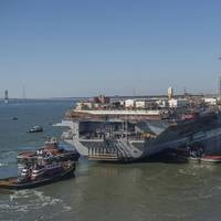 About 500 shipbuilders assisted with the undocking of the aircraft carrier USS Abraham Lincoln (CVN 72) on Monday. Lincoln was moved from a dry dock to an outfitting berth at Newport News Shipbuilding, where its refueling and complex overhaul will be completed. Photo by Ricky Thompson/HII