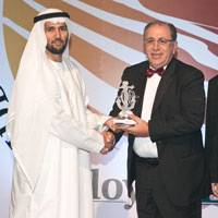 ABS Regional Vice President, Middle Eastern Region, ABS Europe Division, Joseph Brincat (center) accepts the Lloyd's List Middle East & Indian Subcontinent Award for the Best Classification Society from Hamed Bin Lahej, Regional CEO Middle East/Africa, Drydocks World, Dubai during the awards ceremony held in Dubai. At right is Reg Athwal, founder of the RAW Group of Companies and the master of ceremonies for the event. (Photo courtesy ABS)