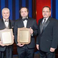 Accepting the AOTOS Mariners' Plaque on behalf of the officers and crew of the M/V Ocean Titan was Captain Christopher Hill (second from right). Accepting the Mariners' Plaque on behalf of the officers and crew of the USNS 1st LT Baldomero Lopez was AMO National Executive Vice President Robert Kiefer. With them at the AOTOS awards ceremony were (left to right) AMO National Assistant Vice President David Weathers, AMO National President Thomas Bethel and AMO National Secretary-Treasurer José Leon